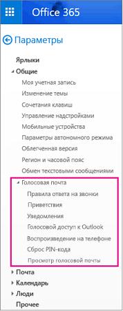 Параметры голосовой почты в области параметров электронной почты Outlook