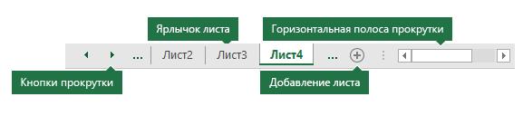 """Вкладки листов Excel, как показано в нижней части области """"Excel"""""""