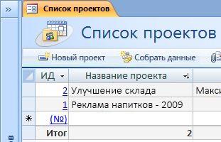 """Шаблон базы данных """"Проекты"""""""
