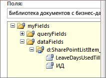 Список выбора полей данных