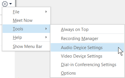 """Снимок экрана, где показано меню кнопки """"Параметры"""" с выбранным пунктом """"Параметра аудиоустройства""""."""