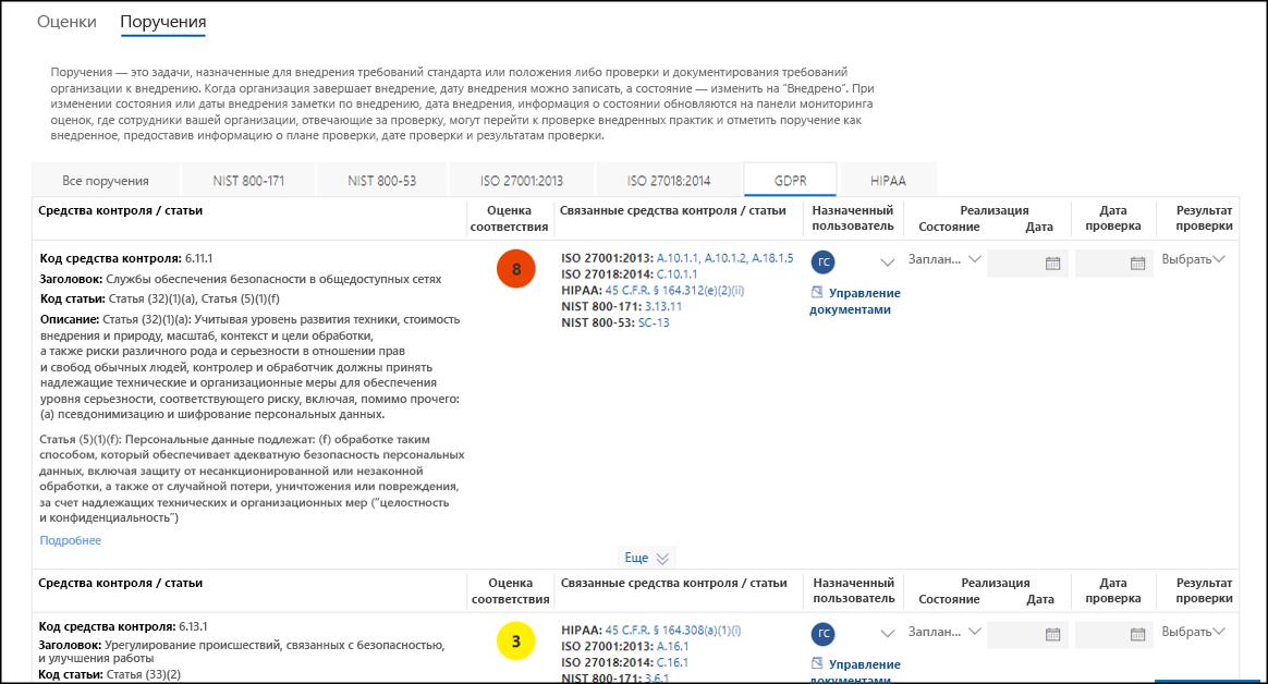 Диспетчер соответствия требованиям: список действий, несколько вкладок, выбран акт GDPR