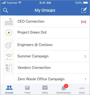 Индикаторы событий Yammer Live при использовании Yammer на мобильных устройствах