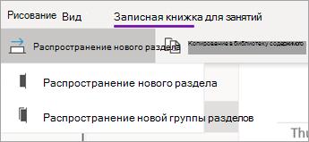 """Кнопка """"распространение нового раздела"""" с раскрывающимся списком параметров."""