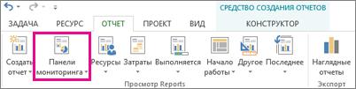 Кнопка ''Панели мониторинга'' на вкладке ''Отчет''