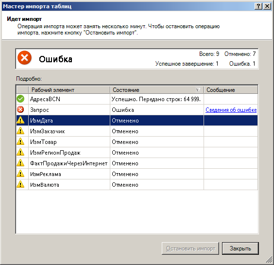 Сообщения о состоянии обновления данных в PowerPivot