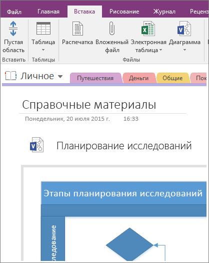 Снимок экрана: добавление существующей схемы Visio в OneNote2016.