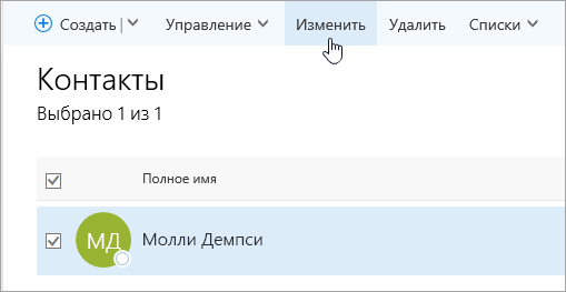 """Снимок экрана: указатель мыши наведен на кнопку """"Изменить"""" на странице """"Люди""""."""
