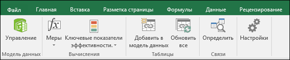 Меню Power Pivot на ленте Excel
