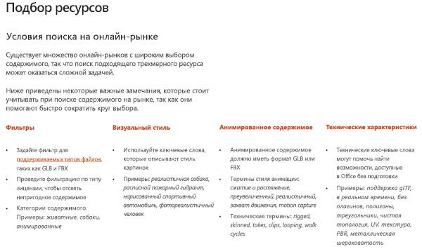 """Снимок экрана: раздел """"источники ресурсов"""" в руководстве по трехмерному содержимому"""
