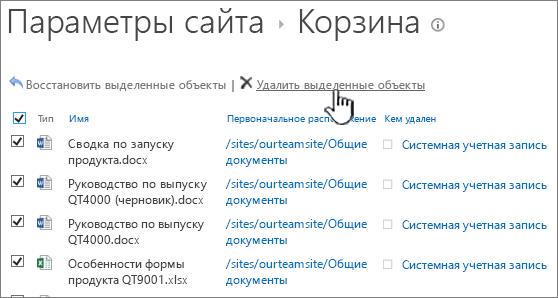 """Вторая корзина SharePoint2013, в которой выбраны все элементы и выделена кнопка """"Удалить"""""""