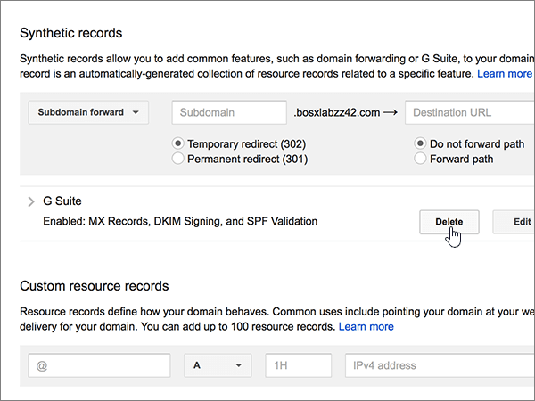 Нажмите кнопку Удалить в разделе синтетические записи