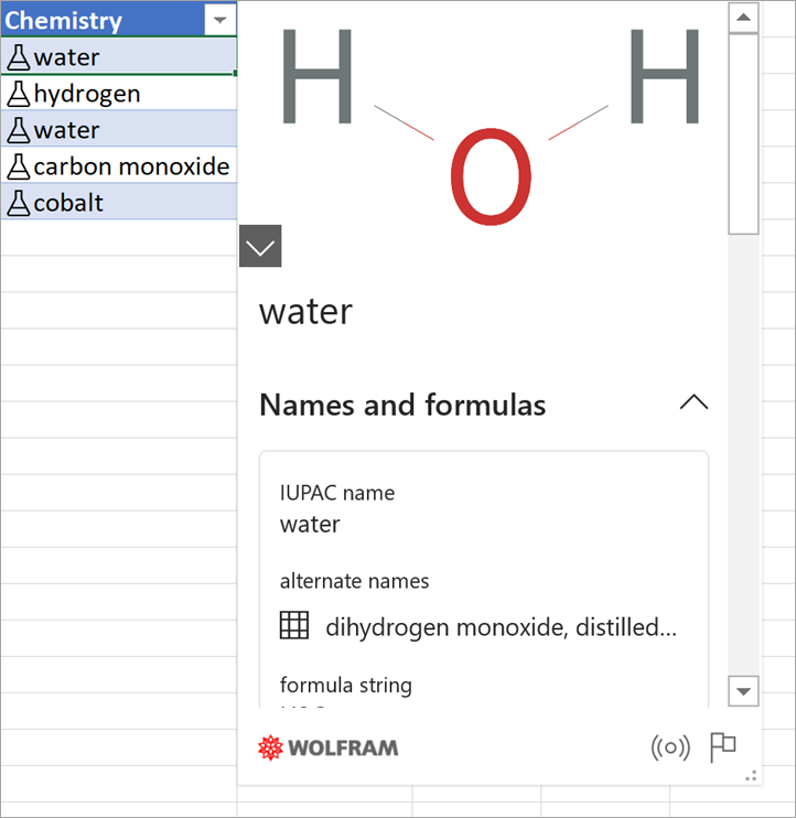Снимок экрана: карточка данных водорода