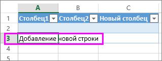 Добавление новой строки таблицы путем ввода данных в строку под последней строкой в таблице