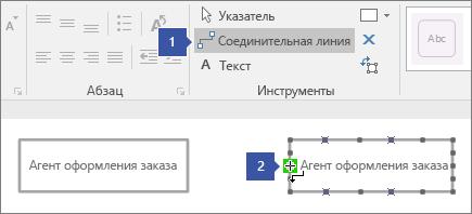 1, указывает на соединительную линию, 2, показывает на указатель, наведенный на точку соединения на фигуре линии жизни, выделенную зеленым