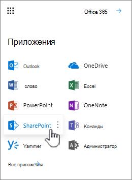 Список приложений Office 365 из кнопка средства запуска приложений