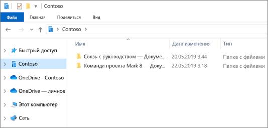 Снимок экрана: синхронизируемые папки OneDrive и сайты.
