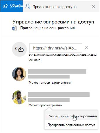 """Снимок экрана: раздел """"Общий доступ"""" в области сведений общего файла"""