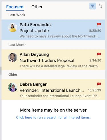 Выполнение поиска с фильтром в списке сообщений