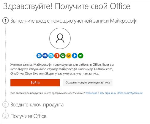 Страница setup.office.com, на которой вы активируете ключ продукта