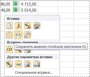 Параметры меню просмотра вставки