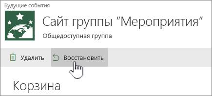 Нажмите кнопку восстановить, чтобы вернуть элементы