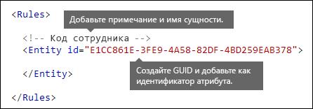 XML-разметка, демонстрирующая элементы Rules и Entity
