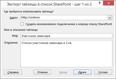 диалоговое окно мастера экспорта в SharePoint