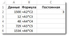 Данные в столбце A, формулы в столбце B и число 3 в ячейке C2