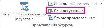 """Кнопка """"Лист ресурсов"""" на вкладке """"Вид"""""""