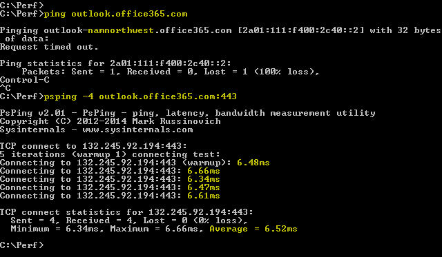 Снимок экрана, на котором показана проверка связи с разрешением outlook.office365.com, а также команда PSPing через порт 443, которая выполняет аналогичное действие, но при этом сообщает также среднее время кругового пути (RTT), равное 6,5 миллисекунды.