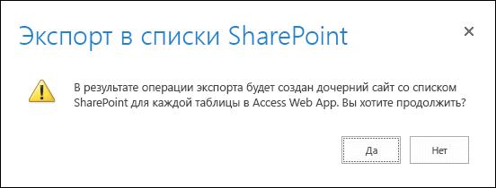 """Снимок экрана: диалоговое окно подтверждения При нажатии кнопки """"Да""""данные будут экспортированы в списки SharePoint, при нажатии """"Нет"""" экспорт отменяется."""