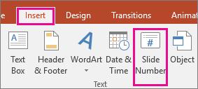 "Кнопка ""Номер слайда"" на ленте PowerPoint"
