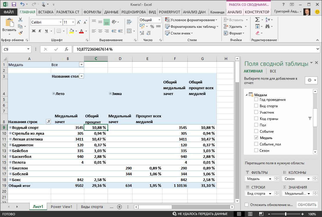 Отображение процента в сводной таблице