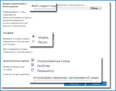 Снимок экрана представления модели подключения к бизнес-данным.
