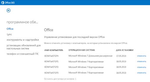 Управление активными экземплярами Office365