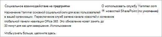 Центр администрирования SharePoint, параметры социального взаимодействия на предприятии