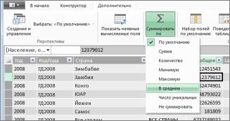 """Свойства отчетов PowerPivot: """"Суммировать по"""""""