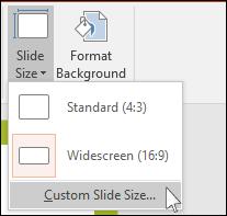 Диалоговое окно настройки пользовательского размера слайдов