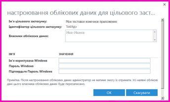 """Снимок экрана: диалоговое окно """"Настройка учетных данных для конечного приложения службы Secure Store"""". Это диалоговое окно можно использовать для настройки учетных сведений для внешнего источника данных"""