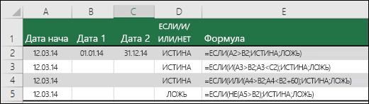Примеры использования функции ЕСЛИ с И, ИЛИ и НЕ для оценки дат