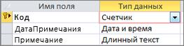 """Первичный ключ с типом данных """"Счетчик"""", обозначенный как """"ИД"""" в таблице Access в режиме конструктора"""