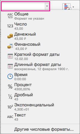 """Поле числовых форматов на вкладке """"Главная"""""""