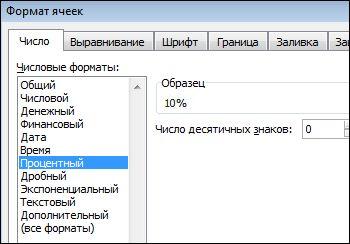 """Процентный формат в диалоговом окне """"Формат ячеек"""""""