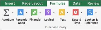На вкладке Формулы щелкните текст.