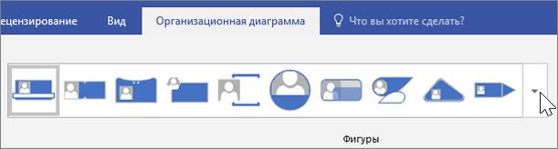 """Снимок экрана: панель инструментов """"Организационная диаграмма"""""""
