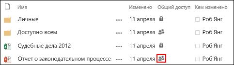 Значок общего доступа для документа, совместно используемого несколькими людьми