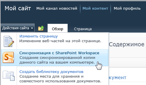 "Команда ""Синхронизация с SharePoint Workspace"" в меню ""Действия сайта"""