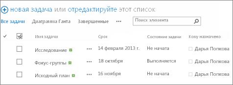 Список на странице