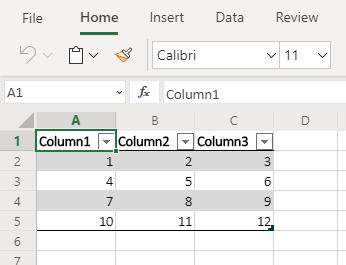 Данные Excel, отформатированные как таблица